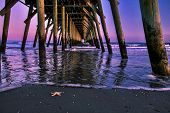 image of atlantic ocean  - Beach Pier with an Atlantic Ocean sunrise as the backdrop  Myrtle Beach - JPG