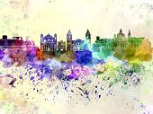 Valletta Skyline In Watercolor Background