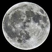 stock photo of wolf moon  - A detailed image of a full Moon taken with an astronomical telescope - JPG