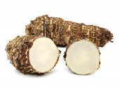 pic of taro corms  - taro roots isolated on over white background - JPG