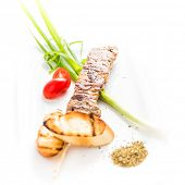 image of souvlaki  - Famous greek souvlaki dish on a white plate  - JPG