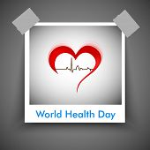 stock photo of beat  - Abstract World health day concept with heart and heart beats - JPG