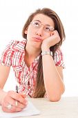 foto of boredom  - young female student having boredom in learning lazy student - JPG