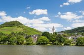 Small Town Bullay Along River Moselle In Germany