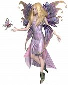 picture of faerie  - Pretty blonde fairy with purple dress and wings and a pink butterfly - JPG