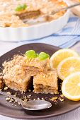 picture of baklava  - Homemade Turkish baklava sweet stuffed with walnuts - JPG