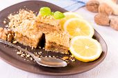 stock photo of baklava  - Turkish baklava with walnuts in the plate - JPG