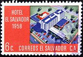 EL SALVADOR - CIRCA 1958: A stamp printed in Salvador shows Hotel El Salvador circa 1958