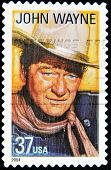 stamp printed in United States of America shows actor John Wayne
