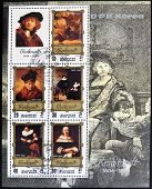 NORTH KOREA - CIRCA 1983 : A stamp printed in DPR North Korea shows Rembrandt self-portrait circa 19