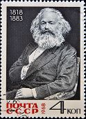 USSR - CIRCA 1968 A stamp printed in Russia shows Karl Marx portrait circa 1968