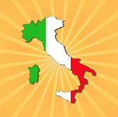 Italy map flag on sunburst illustration