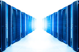 picture of intranet  - row of server racks with strong light from the end - JPG