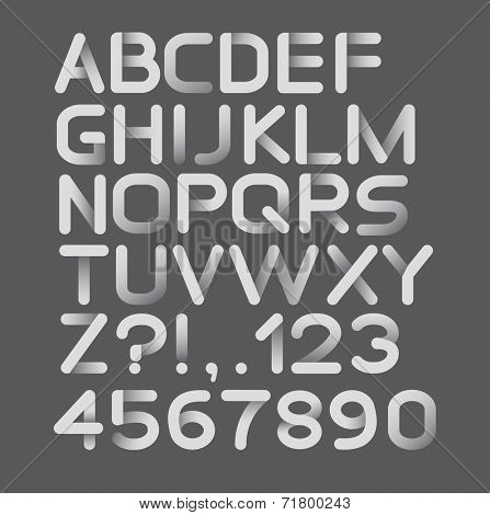 Paper white strict alphabet rounded. Isolated on black. Isolated on black