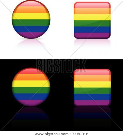 Gay Flag Buttons On White And Black Background