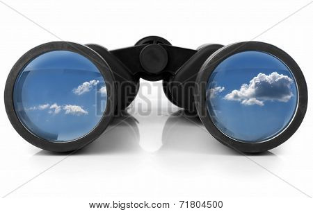 Binoculars Reflecting The Sky