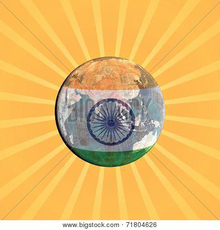 Indian currency flag globe with sunburst illustration