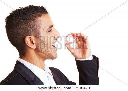 Manager Holding Speech Bubble