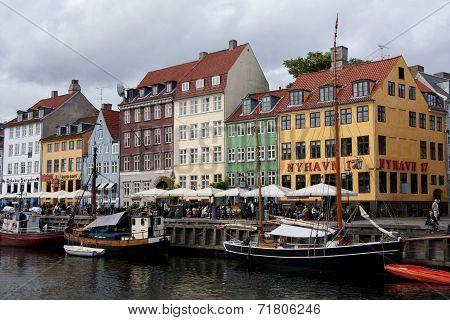 Section Of Restaurant Row In Nyhavn, Copenhagen.