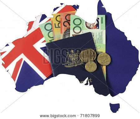 Map Of Australia With Australian Flag, Passport And Money Cash Dollar Notes And Coins.