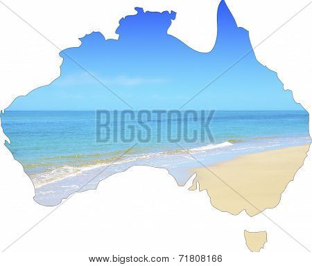 Map Of Australia Showing Vast Wide Open Sandy Beach And Blue Skies.