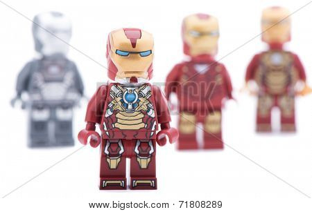 Ankara, Turkey - July 18, 2013: Different Lego Iron Man minifigures isolated on white background.