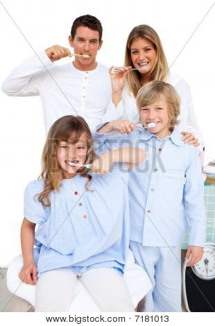 Jolly Family Brushing Their Teeth