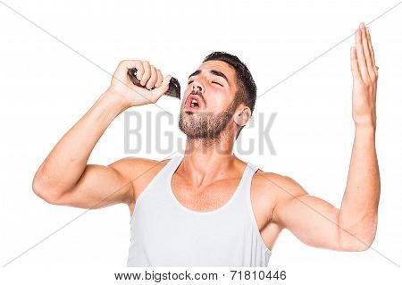 Young Handsome Man Singing At His Trimmer