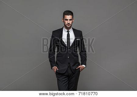 Handsome Elegant Man On Grey Background