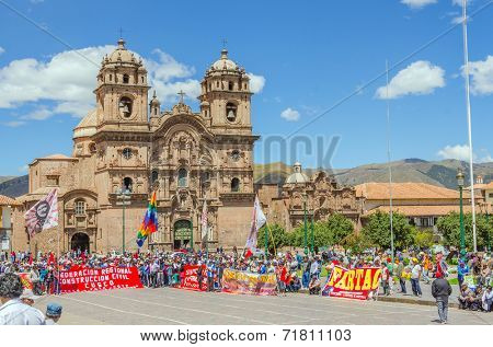 CUZCO, PERU, MAY 1, 2014: - Plaza de Armas, the unions of construction workers manifest during the 1 May Labor Day
