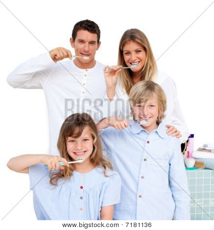 Merry Family Brushing Their Teeth