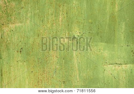 Green grunge painted tin surface