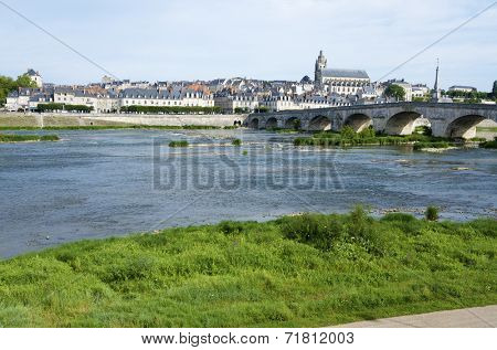 view of the old city of Blois, highlights the St. Louis Cathedral and the Loire river first, Loire Valley, France