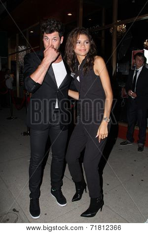 LOS ANGELES - SEP 10:  Maksim Chmerkovskiy, Zendaya Coleman at the Dance With Me USA Grand Opening at Dance With Me Studio on September 10, 2014 in Sherman Oaks, CA