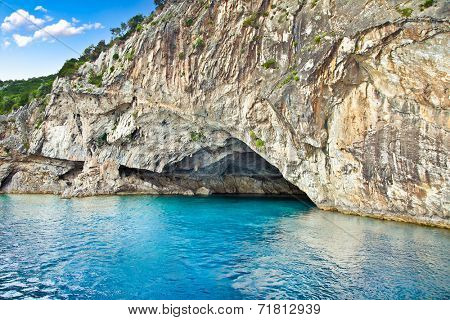 Papanikolis cave on the Ionian island of Lefkas - legendary second world war submarine cave of Papanikolis