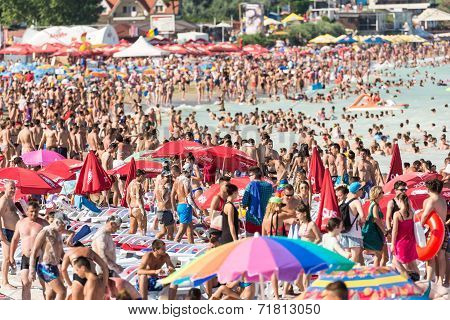 Beach Crowded With People