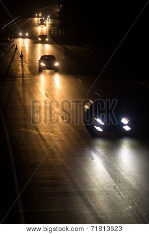 Busy highway at night