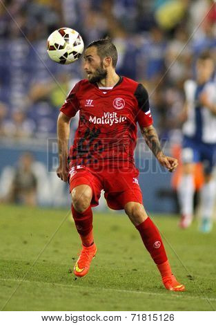 BARCELONA - AUG, 30: Aleix Vidal of Sevilla FC during spanish league match against Espanyol at the Estadi Cornella on August 30, 2014 in Barcelona, Spain