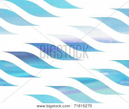 Seamless Blue And White Watercolor Abstract Pattern With Waves