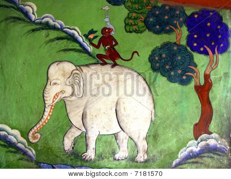 four friend painting from buddhist monastery