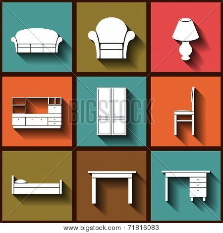 Set Of 9 Flat Icons Of House Furniture. Eps10