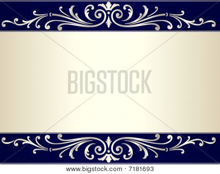 1003004_silver_beige_blue_background_with_scroll_vintage_pat...Vintage scroll background in silver b