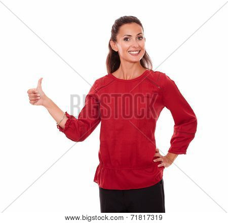 Charming Young Lady With Ok Sign
