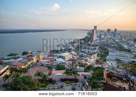 High view of the city of Guayaquil
