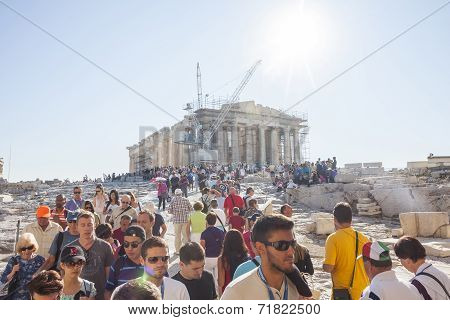 People Sightseeing Parthenon In Greece