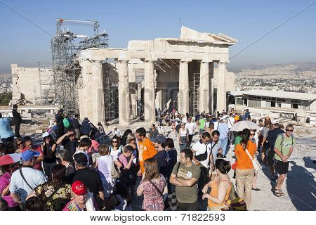 People Visiting Temple Of Athena Nike