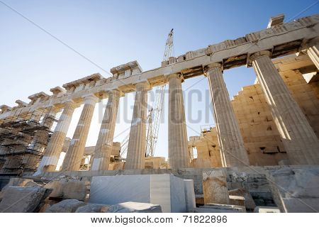 Reconstruction Work On Parthenon Temple In Athens