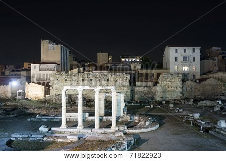 Ruins Of Hadrian Library In Athens