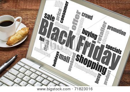 Black Friday shopping word cloud on a laptop computer with a cup of coffee