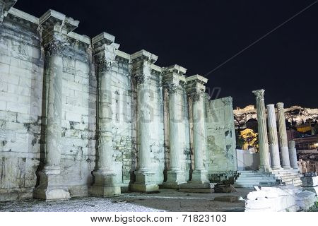 Surrounding Wall Of Hadrian Library In Acropolis